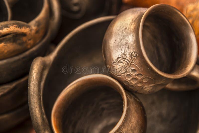 工艺品由黏土制成由瓜亚基尔黏土在厄瓜多尔 库存图片