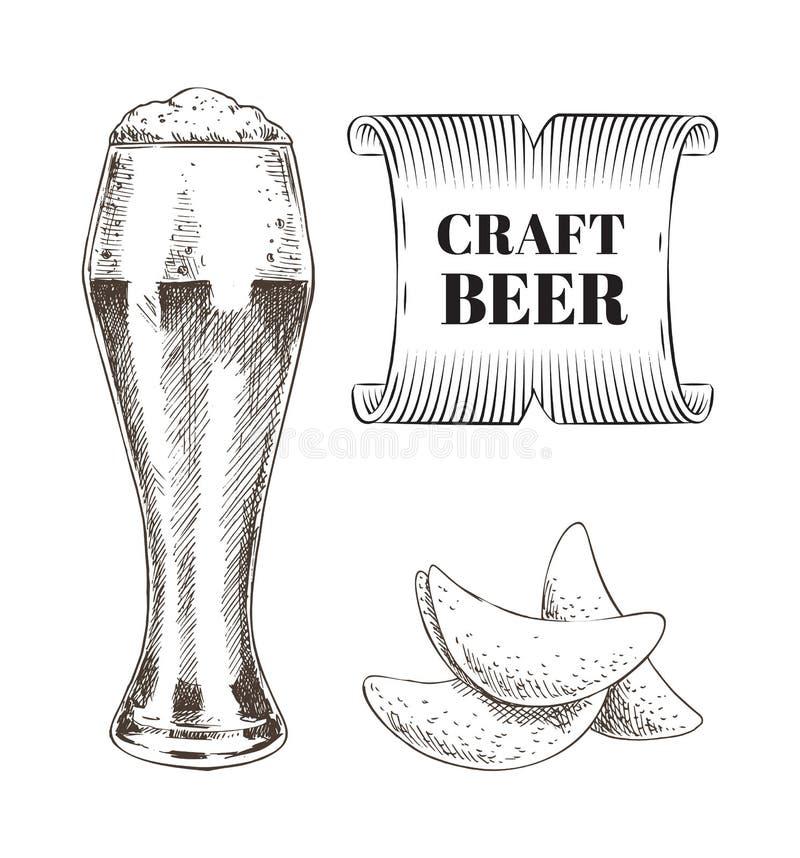工艺啤酒和油煎的芯片集合传染媒介例证 库存例证
