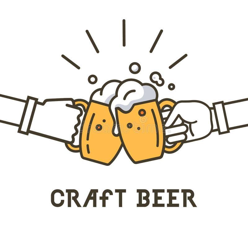 工艺啤酒商标,在传染媒介例证象征设计上写字 向量例证