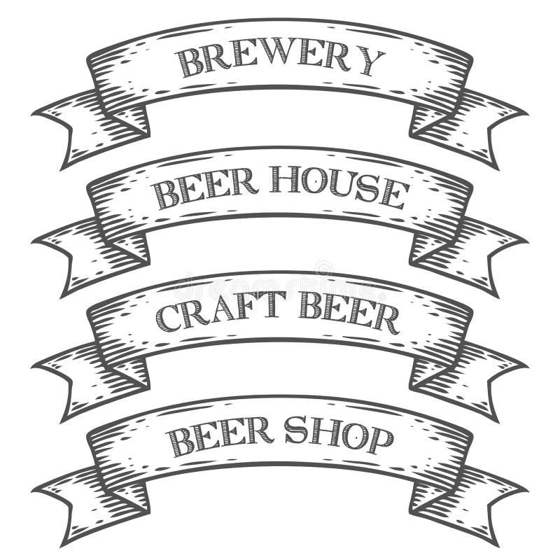 工艺啤酒啤酒厂商店市场象征丝带 单色中世纪集合葡萄酒 库存图片