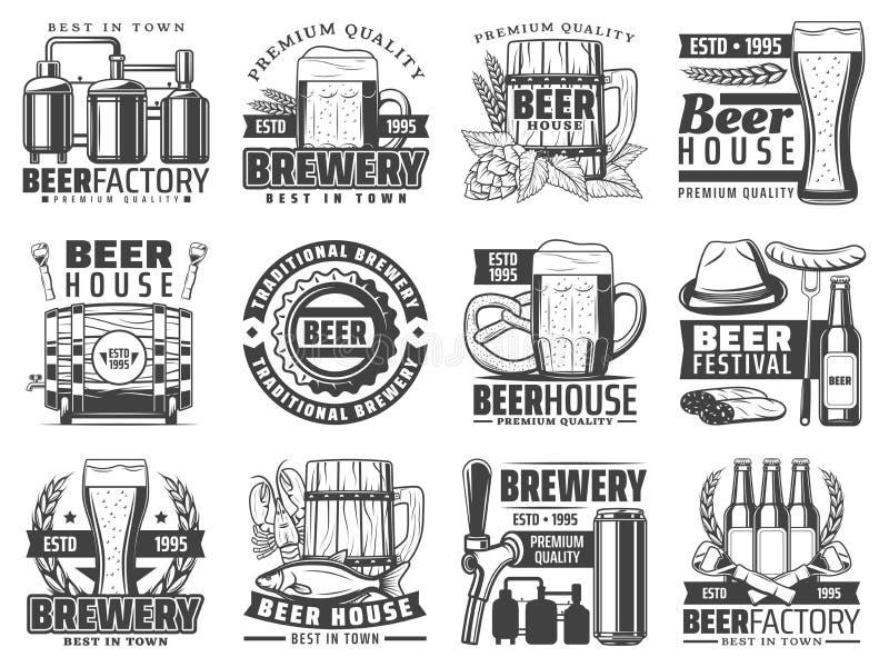 工艺啤酒客栈、酒吧和酿造工厂象 皇族释放例证