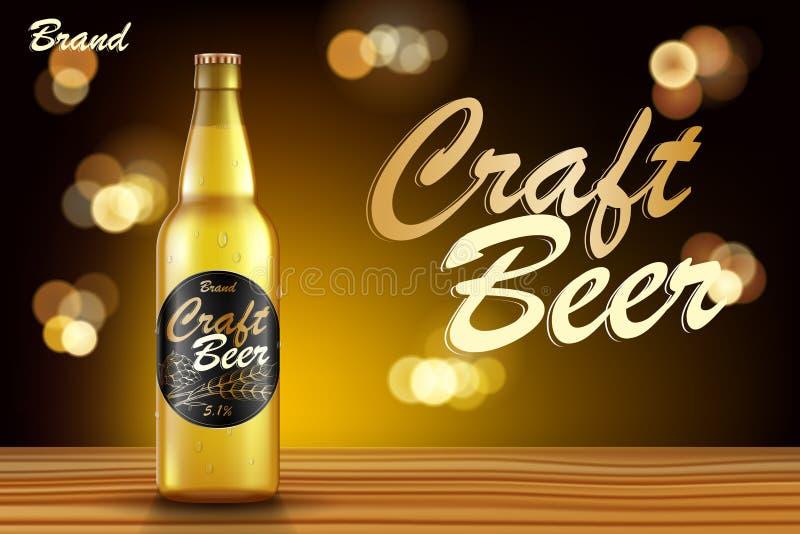 工艺啤酒广告设计 在木桌上的现实麦芽瓶啤酒有减速火箭的金黄背景 向量3d例证 库存例证