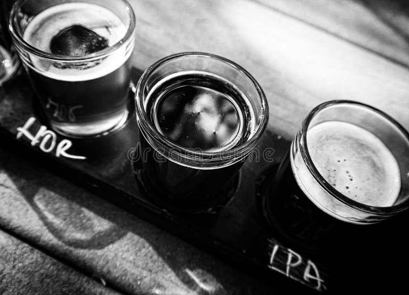 工艺啤酒飞行  库存照片