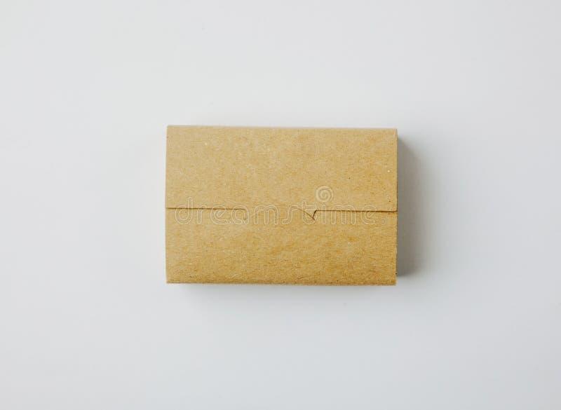 工艺在白色背景的卡片盒照片  水平 库存照片