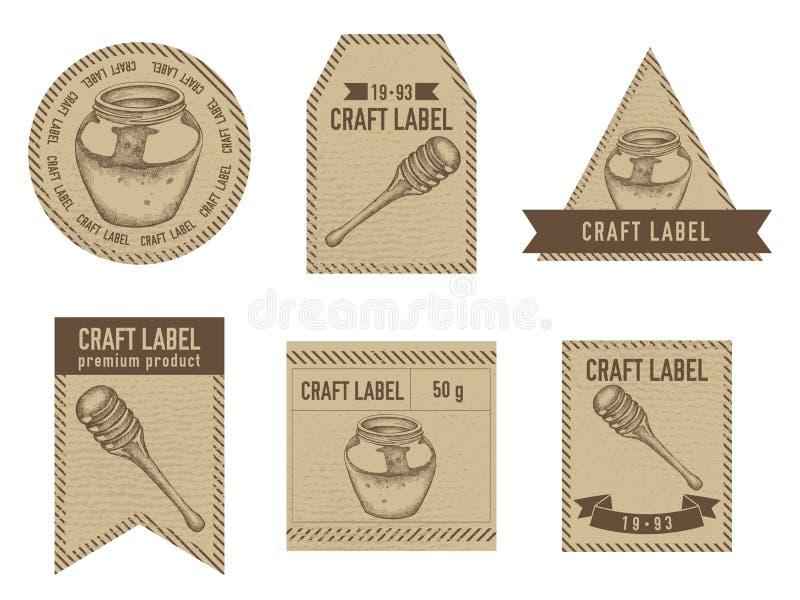 工艺标签与蜂蜜的例证的葡萄酒设计 向量例证