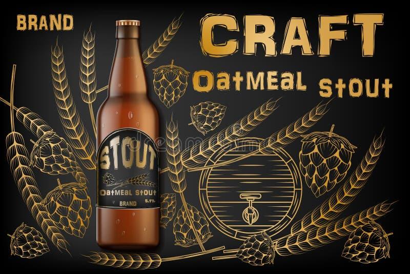 工艺燕麦粥壮健啤酒广告 在减速火箭的背景隔绝的现实麦芽瓶啤酒用成份麦子,蛇麻草和 皇族释放例证