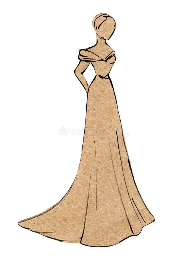 工艺纸的应用 速写美女剪影在舞会礼服 背景查出的白色 向量例证