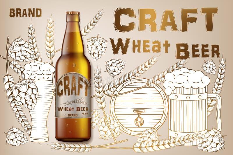 工艺麦子啤酒广告设计 在减速火箭的背景隔绝的现实麦芽瓶啤酒用成份麦子,蛇麻草和 向量例证