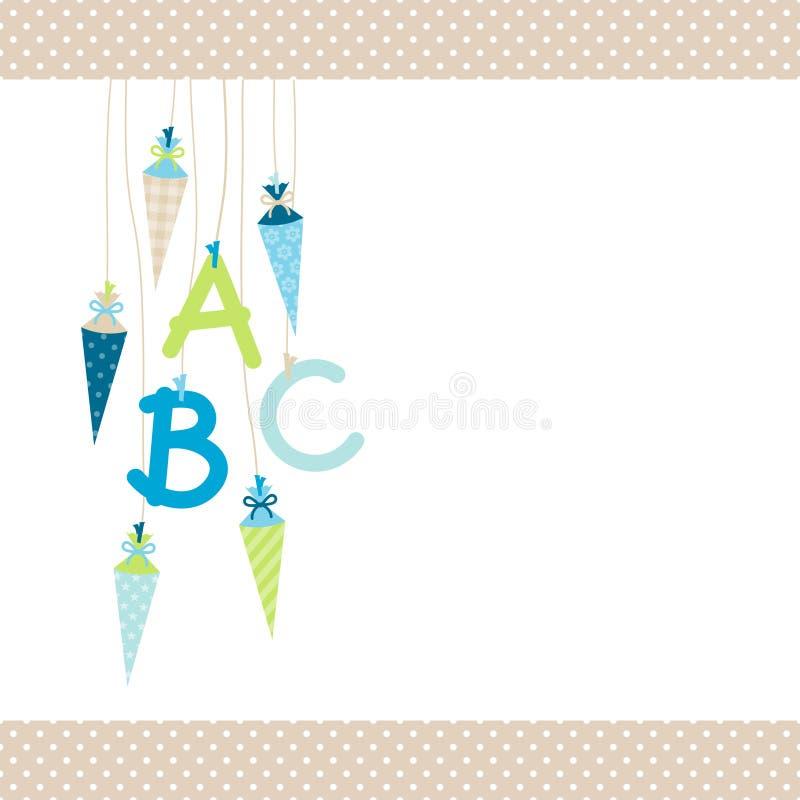 左垂悬的学校短号和ABC蓝色和绿色小点边界灰棕色 库存例证
