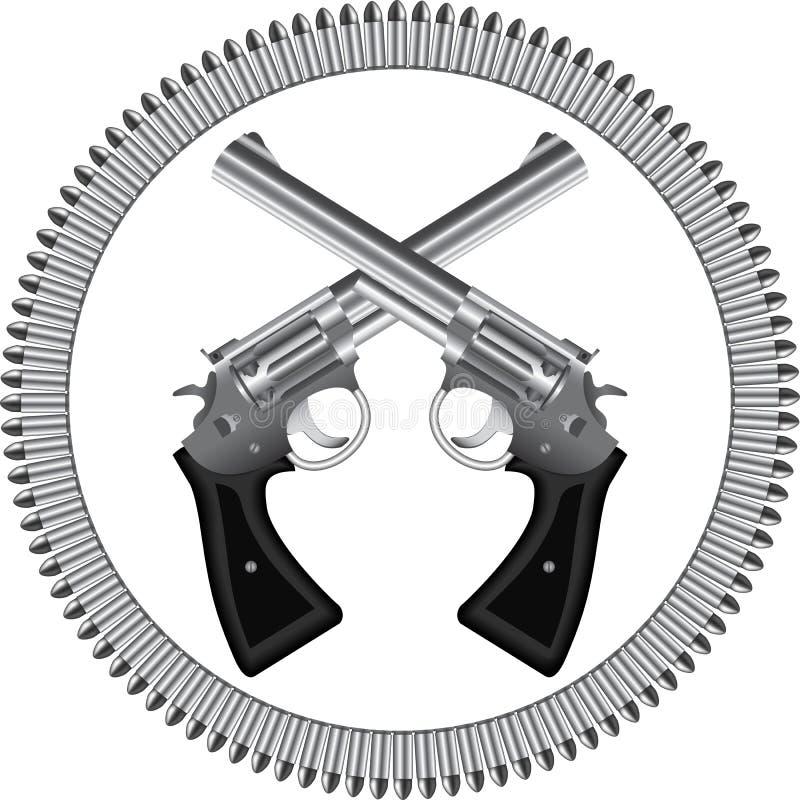 左轮手枪和子弹 库存例证