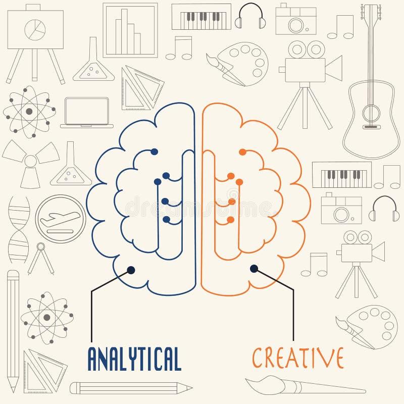 左边和右边脑子概念 向量例证
