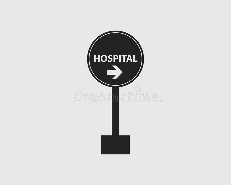 左边的医院环绕了高速公路的标志有灰色背景 库存例证