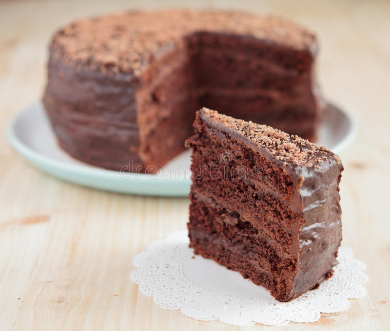 巧克力与巧克力buttercream的松糕 图库摄影