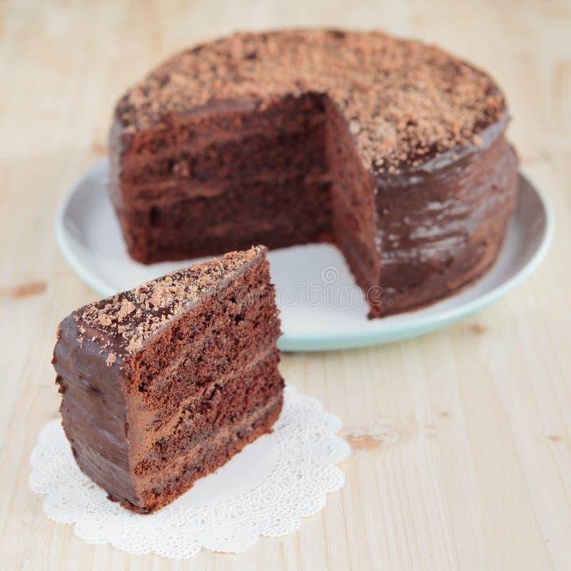巧克力与巧克力buttercream的松糕 库存图片