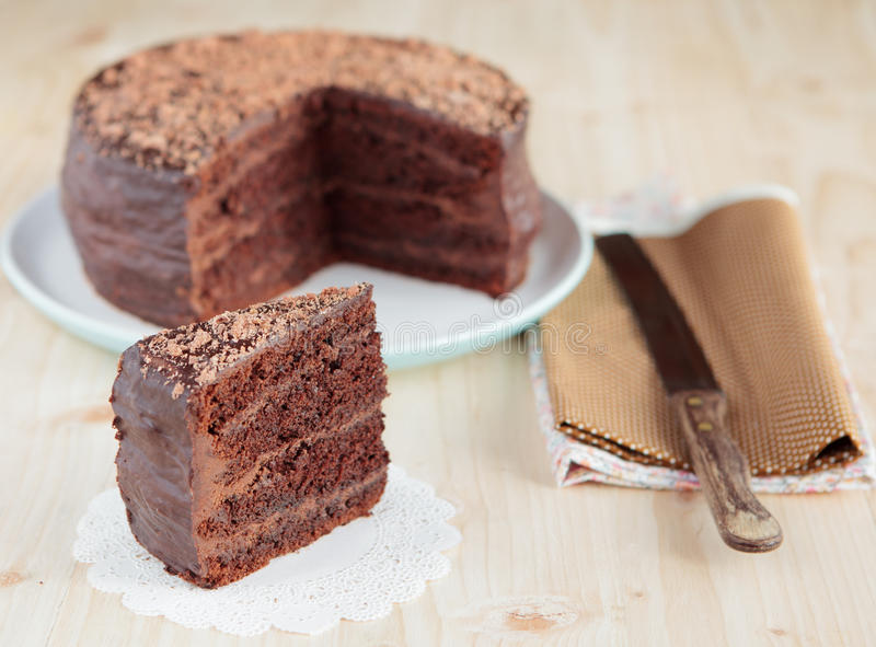巧克力与巧克力buttercream的松糕 库存照片
