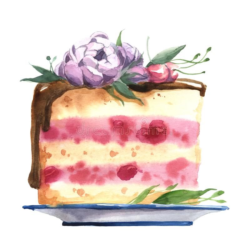 巧克力与花和樱桃的吹蛋糕在蓝色盘 库存例证