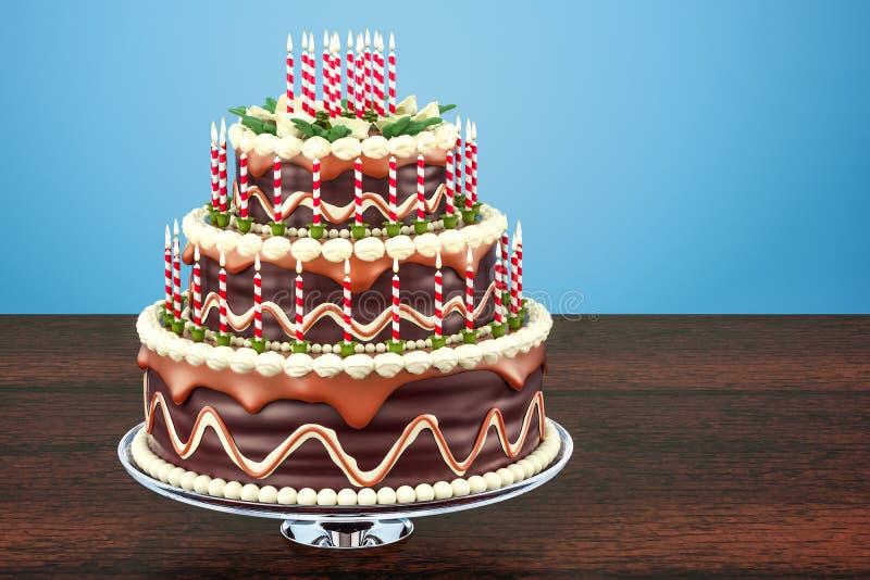 巧克力与蜡烛的生日蛋糕在木tabl的立场 库存例证