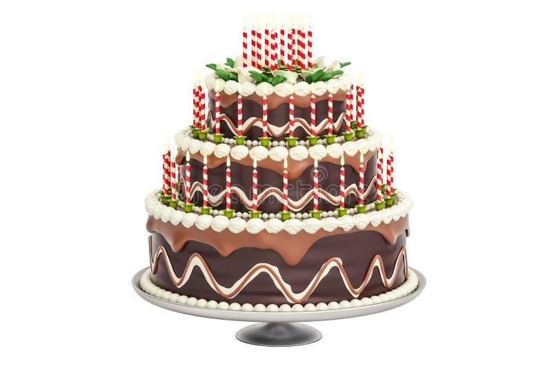 巧克力与蜡烛的生日蛋糕在立场, 3D翻译 库存例证