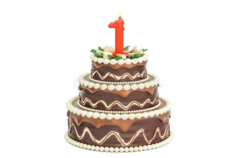 巧克力与蜡烛第1, 3D的生日蛋糕翻译 向量例证