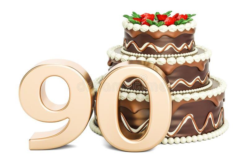 巧克力与金黄第90, 3D的生日蛋糕翻译 皇族释放例证