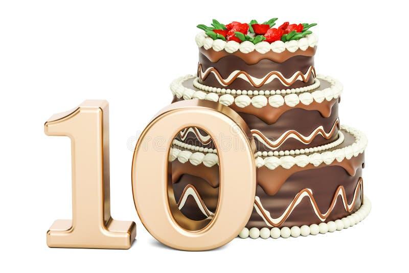 巧克力与金黄第10, 3D的生日蛋糕翻译 向量例证