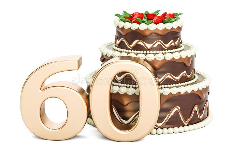 巧克力与金黄第60, 3D的生日蛋糕翻译 向量例证