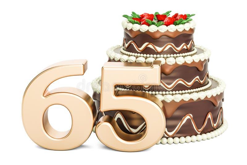 巧克力与金黄第65, 3D的生日蛋糕翻译 库存例证