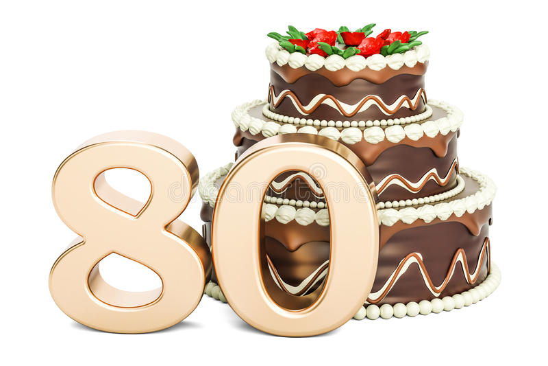 巧克力与金黄第80, 3D的生日蛋糕翻译 皇族释放例证