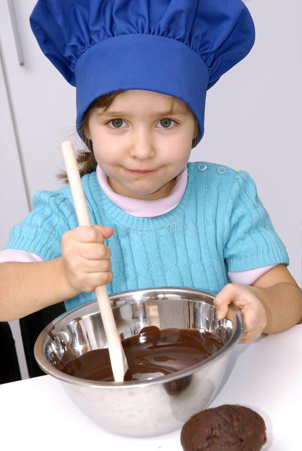 巧克力主厨孩子。 免版税库存图片