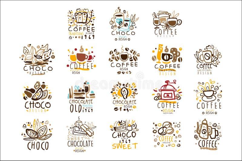 巧克力传统五颜六色的图形设计模板商标系列,手拉的传染媒介钢板蜡纸 库存例证