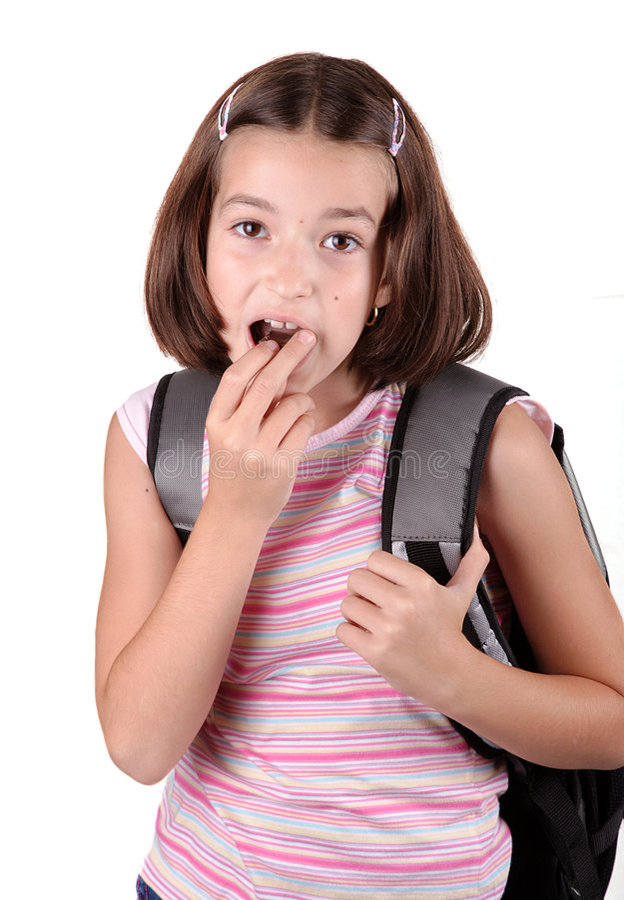 巧克力吃女孩年轻人 图库摄影