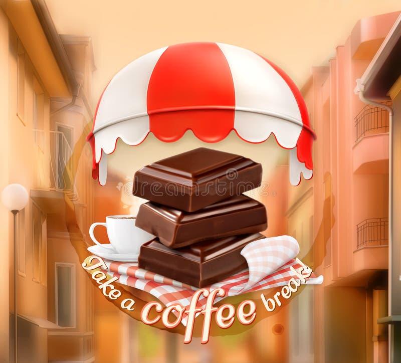 巧克力和咖啡片断  皇族释放例证