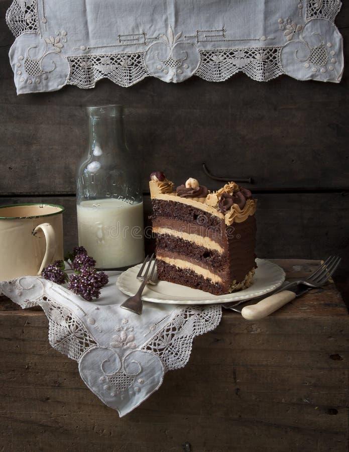 巧克力和焦糖夹心蛋糕 库存照片