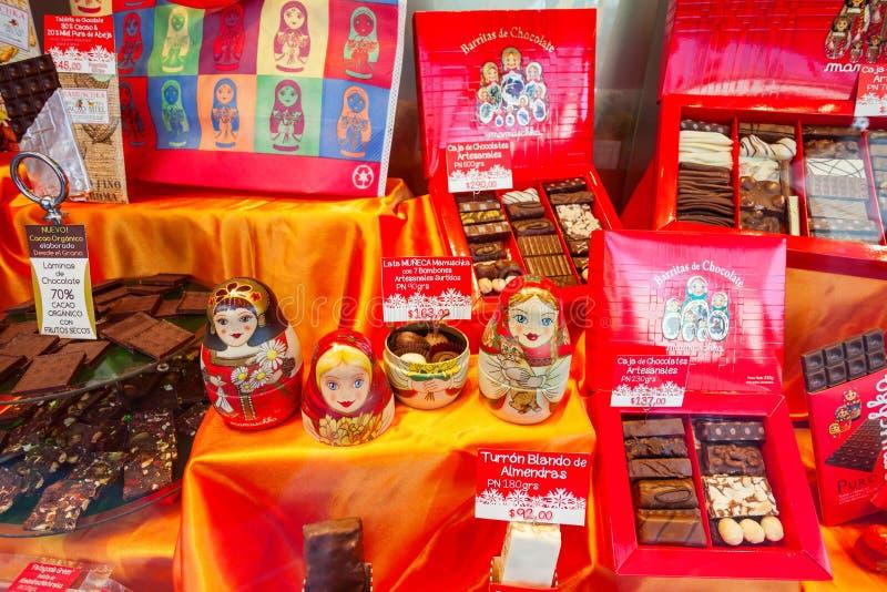 巧克力商店陈列室,巴里洛切 免版税图库摄影