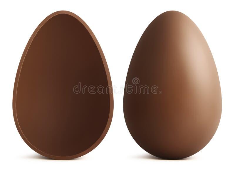 巧克力在空白背景的复活节彩蛋 库存照片