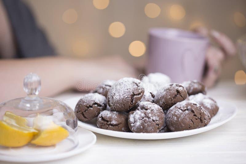 巧克力在糖粉的果仁巧克力曲奇饼 巧克力皱纹 免版税库存照片