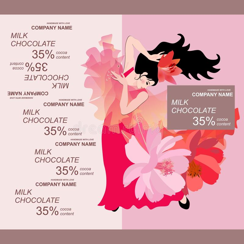 巧克力块与佛拉明柯舞曲舞蹈家女孩的成套设计在浅粉红色的背景的红色礼服的 容易的编辑可能的包装的模板 向量例证