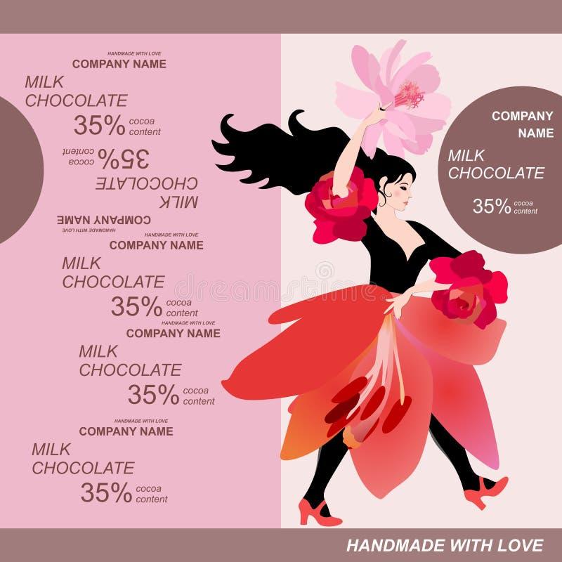 巧克力块与少女的成套设计在形式百合花的红色裙子的 容易的编辑可能的包装的模板 库存例证