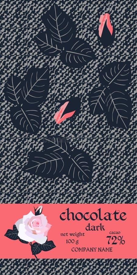 巧克力块与玫瑰的叶子和芽的成套设计在黑暗的风格化牛仔布背景的 容易的编辑可能的包装的模板 向量例证