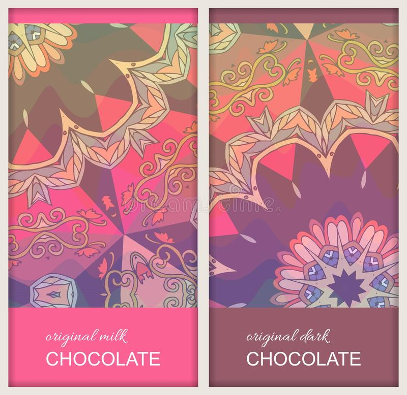 巧克力块与种族装饰品的成套设计与坛场花 美好的收藏 容易的编辑可能的包装的模板 皇族释放例证