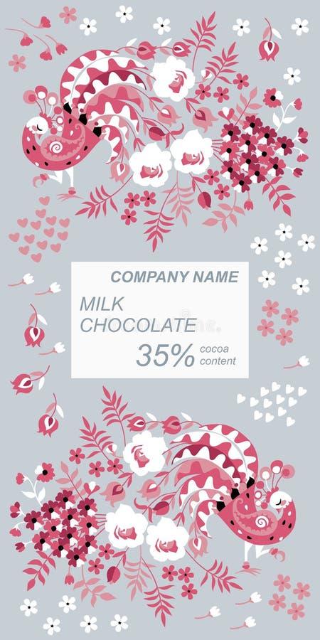巧克力块与美丽的孔雀和花的成套设计在灰色背景的种族样式 容易编辑可能包装 库存例证