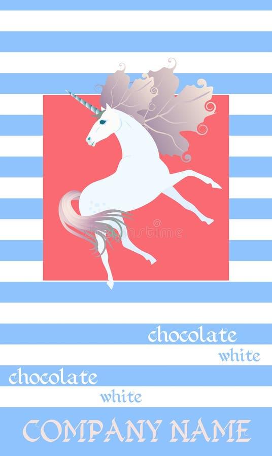 巧克力块与逗人喜爱的独角兽的成套设计在红色背景和蓝色和白色条纹 编辑可能的包装的模板 库存例证