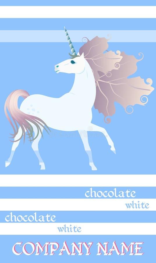 巧克力块与逗人喜爱的独角兽的成套设计在镶边蓝色和白色背景 容易的编辑可能的包装的模板 向量例证