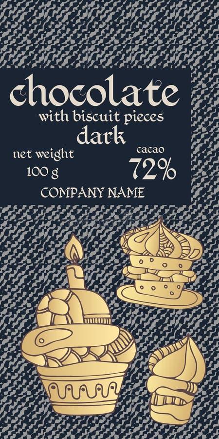 巧克力块成套设计用在牛仔布背景的酥皮点心 邀请或贺卡 容易的编辑可能的包装的模板 向量例证