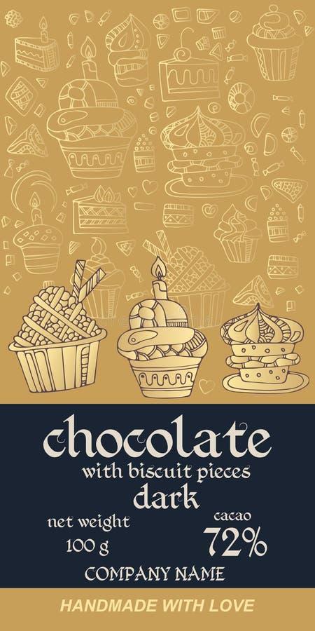 巧克力块成套设计用在金黄背景的酥皮点心 邀请或贺卡 容易的编辑可能的包装的模板 向量例证