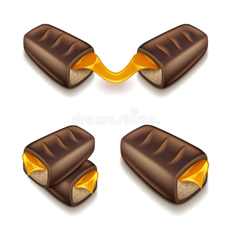 巧克力块用在白色传染媒介隔绝的焦糖 库存例证