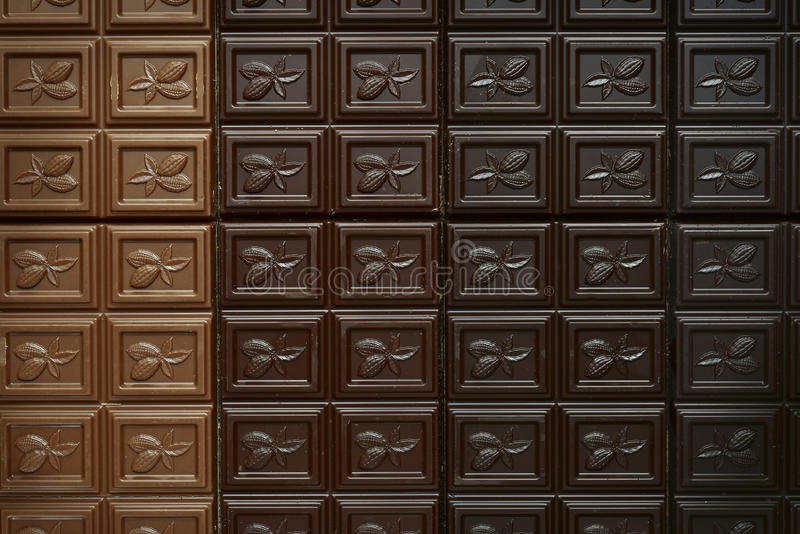 巧克力块的分类 顶视图 免版税库存照片