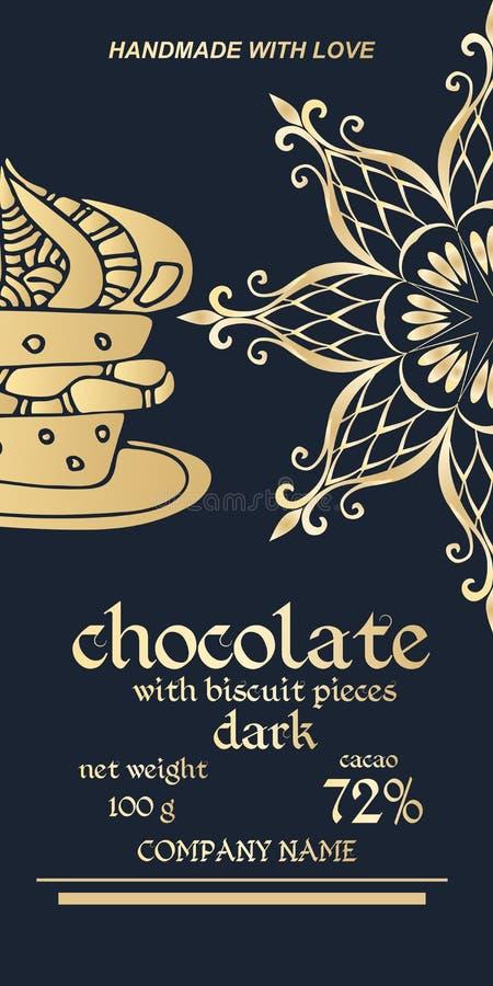 巧克力块皇家金黄成套设计  容易的编辑可能的包装的模板 一半雪花或坛场-花 皇族释放例证