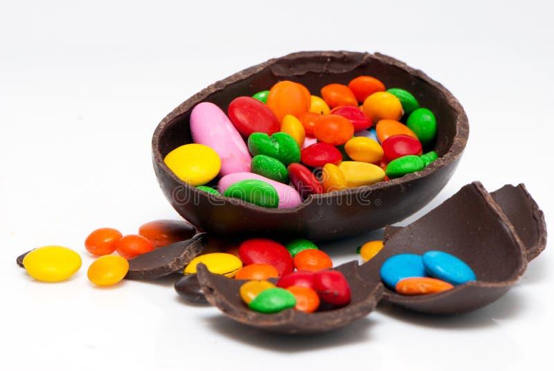 巧克力复活节彩蛋甜点 免版税库存图片