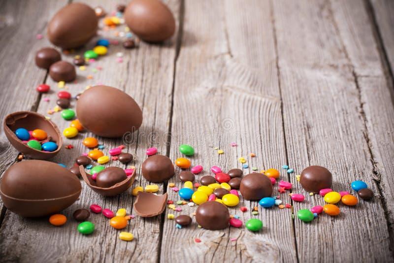 巧克力复活节彩蛋 免版税图库摄影